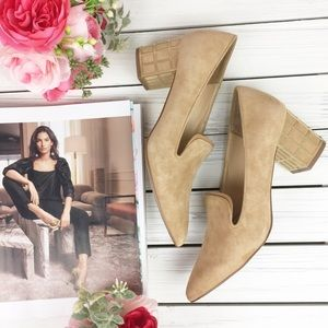 Brian Atwood Kendal Suede Camel Block Heel